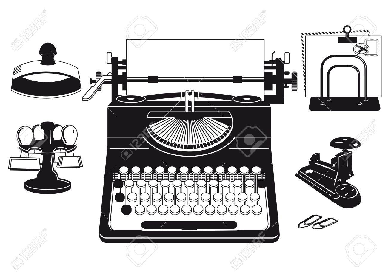 old typewriter with office supplies Stock Vector - 18754487