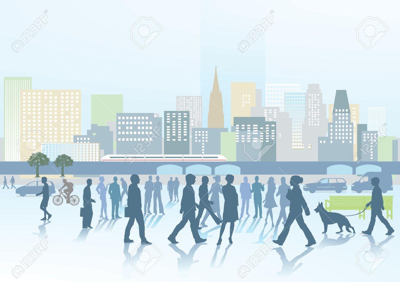 Big city panorama Stock Vector - 19291226