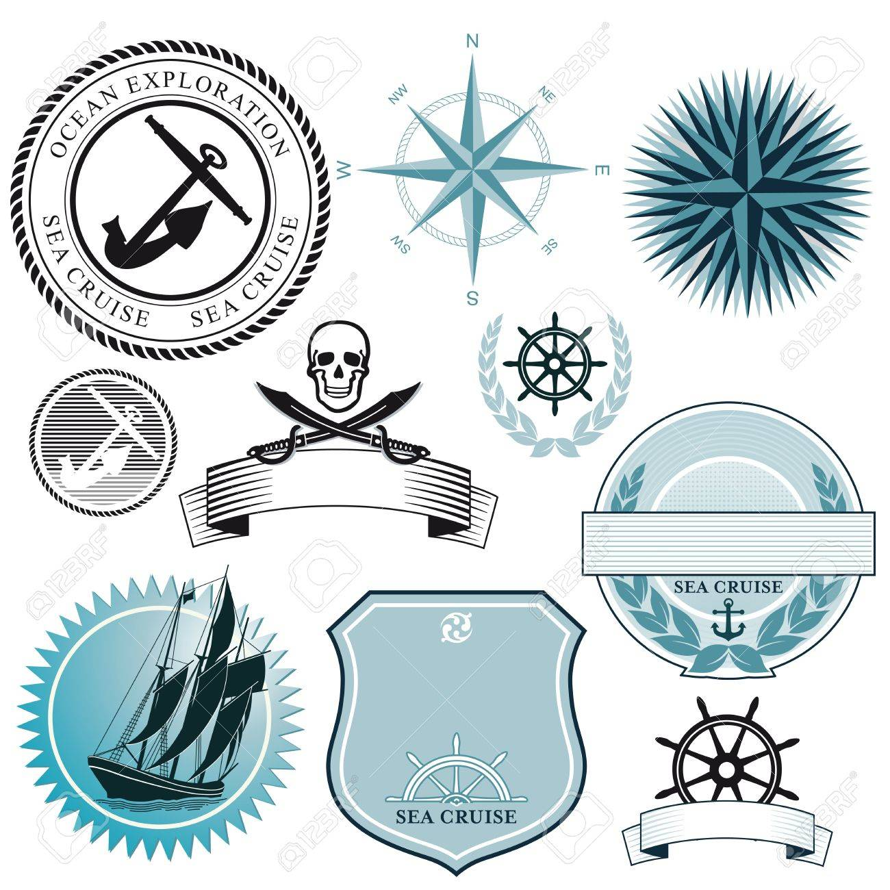 Ship and sea icons Stock Vector - 20887339