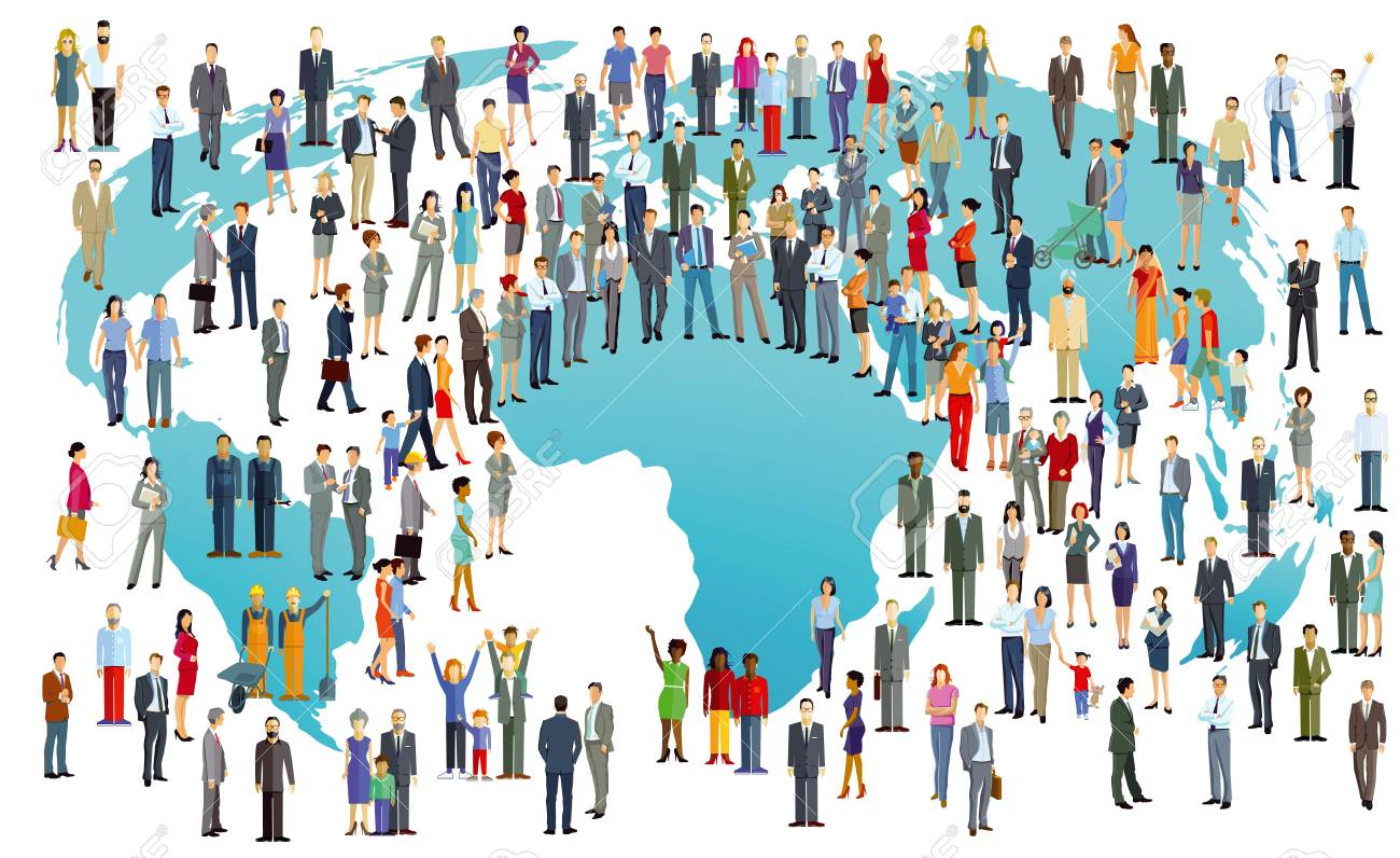 World Population International In colorful illustration - 91679762