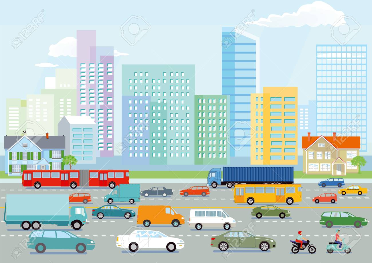 Highway in the big city illustration - 97179818
