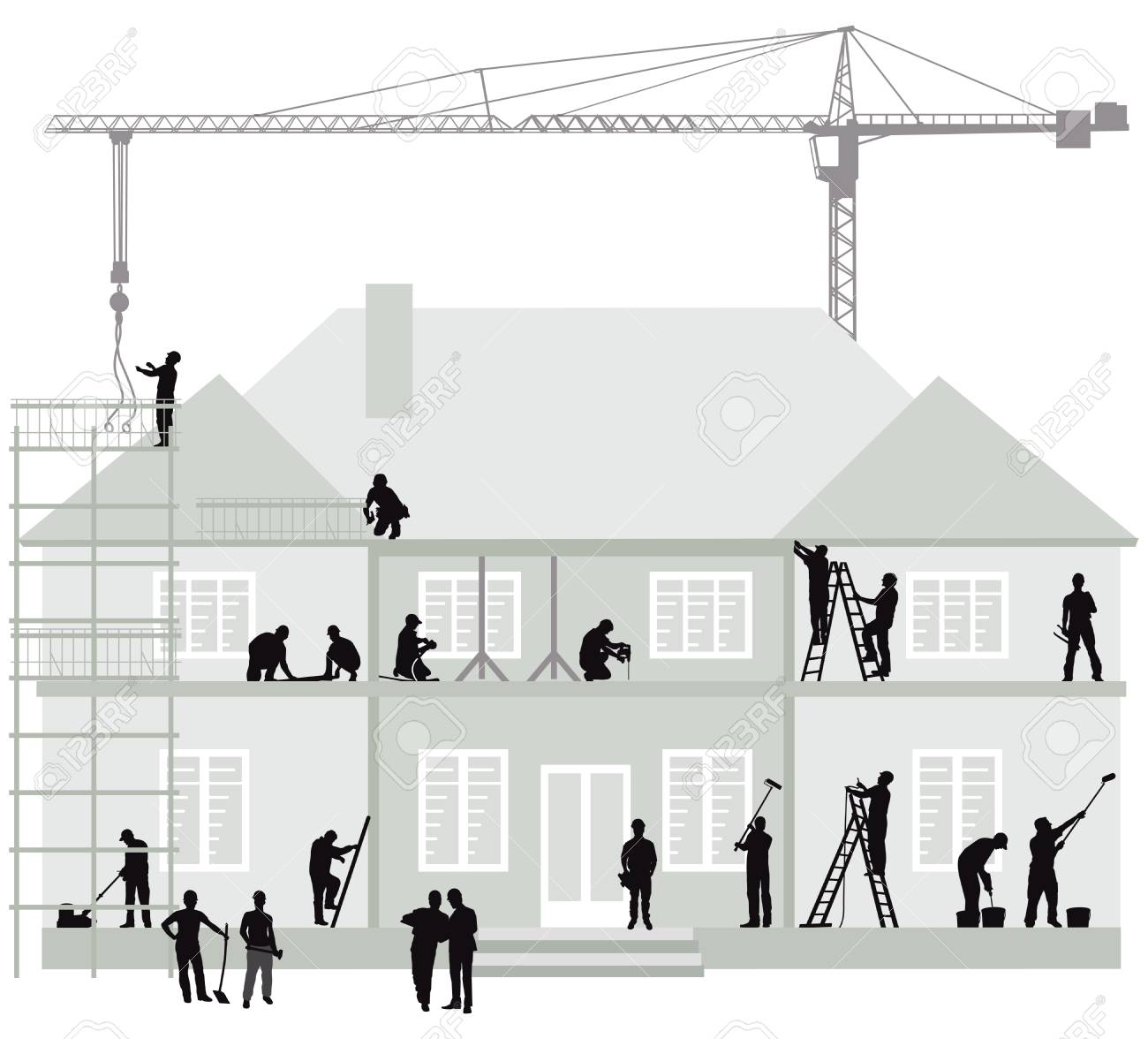 Construction site with construction workers, excavator and crane - 125503649