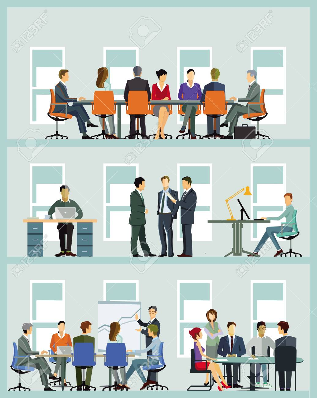Business team at cooperation - illustration - 132066320