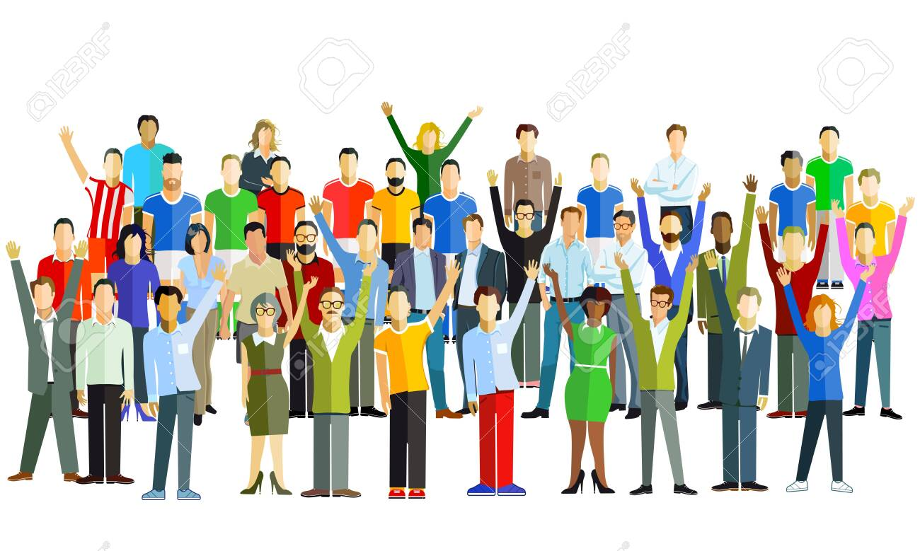 Cheerful group of people in the community - vector illustration - 142216885