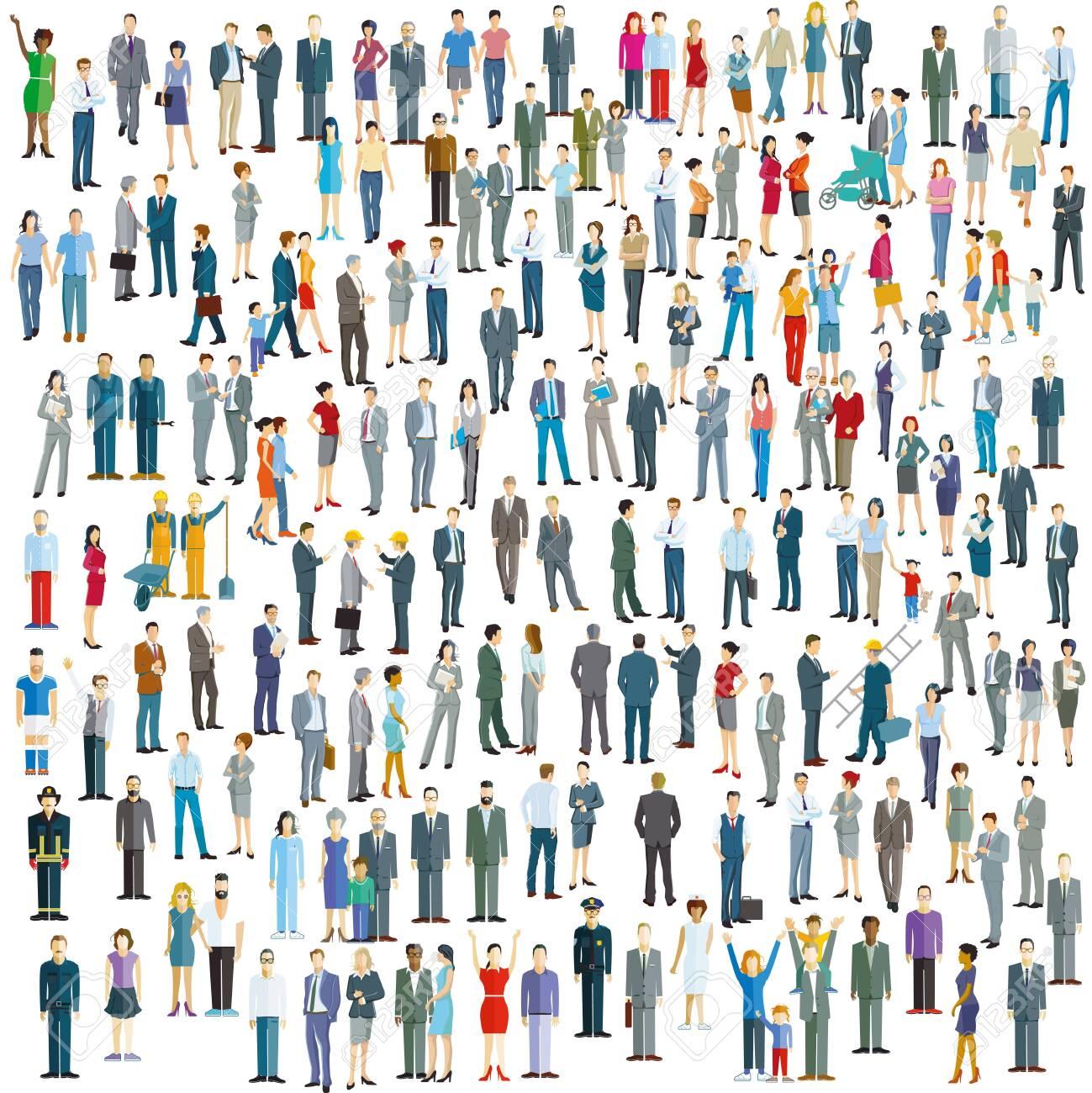Large crowd on white background. Vector illustration - 143417391