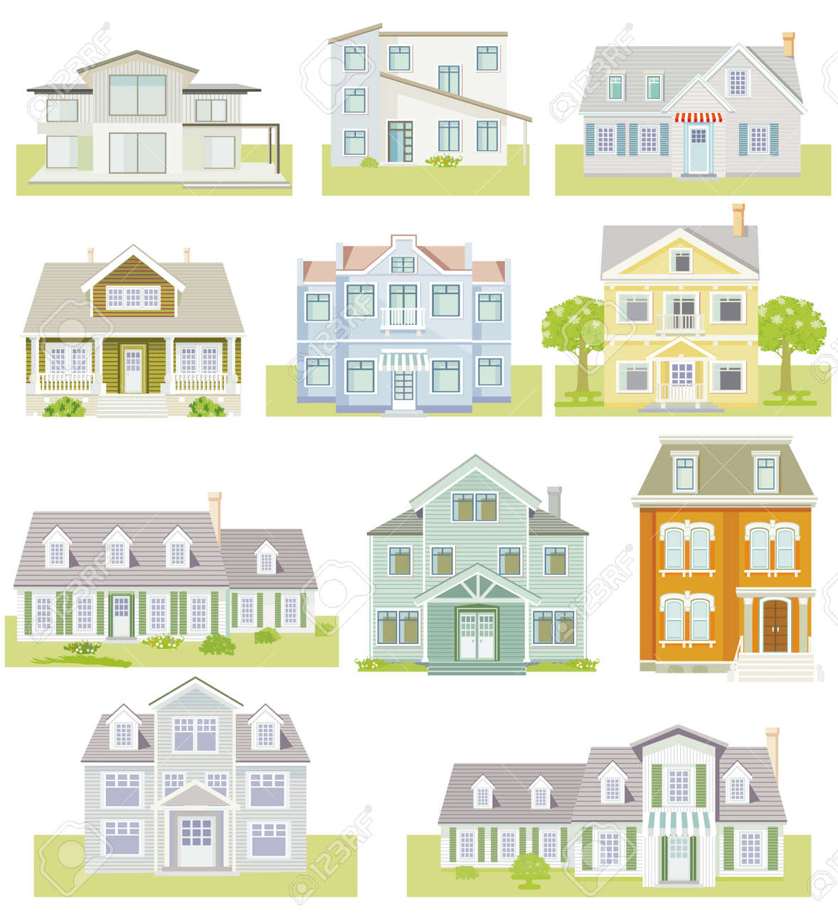 Set of houses and apartment houses, country houses, wooden houses, family houses, illustration - 165424112