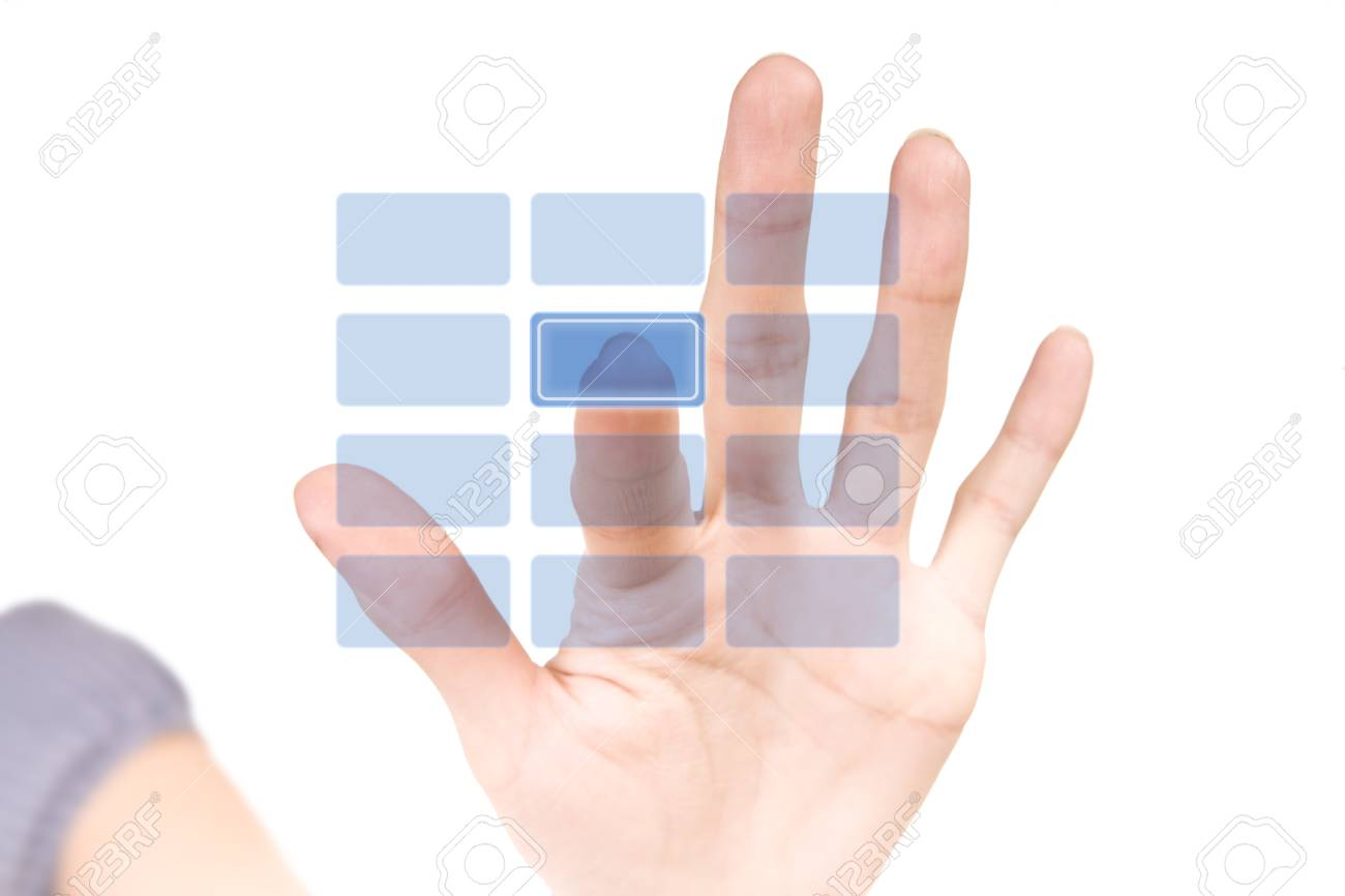 Woman pushing a blank button on security virtual keypad. Stock Photo - 10514722