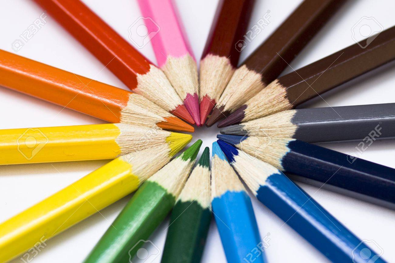 Close-up of a selection of colored pencil crayons, arranged like a color wheel. Stock Photo - 10687266