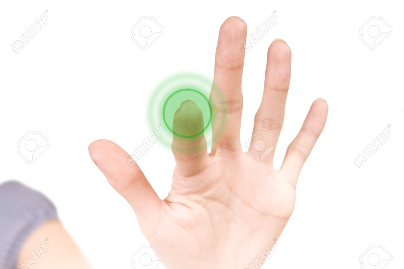 young woman pushing a blank green button Stock Photo - 10744340