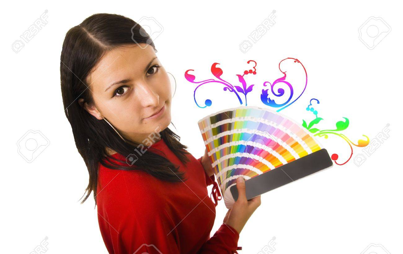 Stock photo of a young woman holding color guide Stock Photo - 12010883