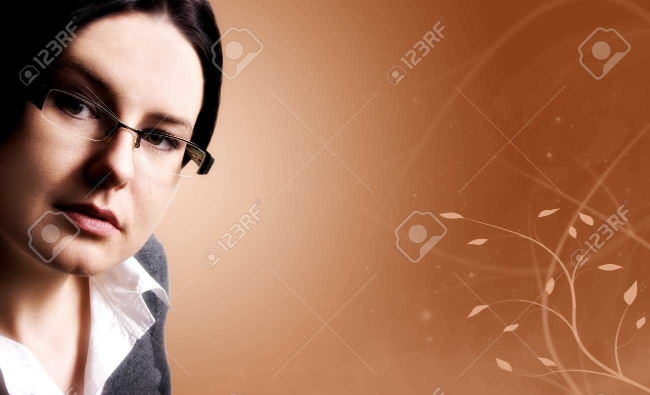 Business woman in glasses with decorative background Stock Photo - 13520215