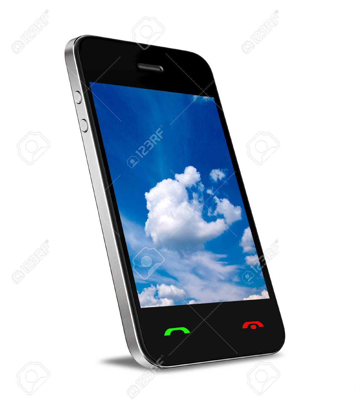 Cloud computing connection on modern mobile smart phone  Isolated on white Stock Photo - 13747729