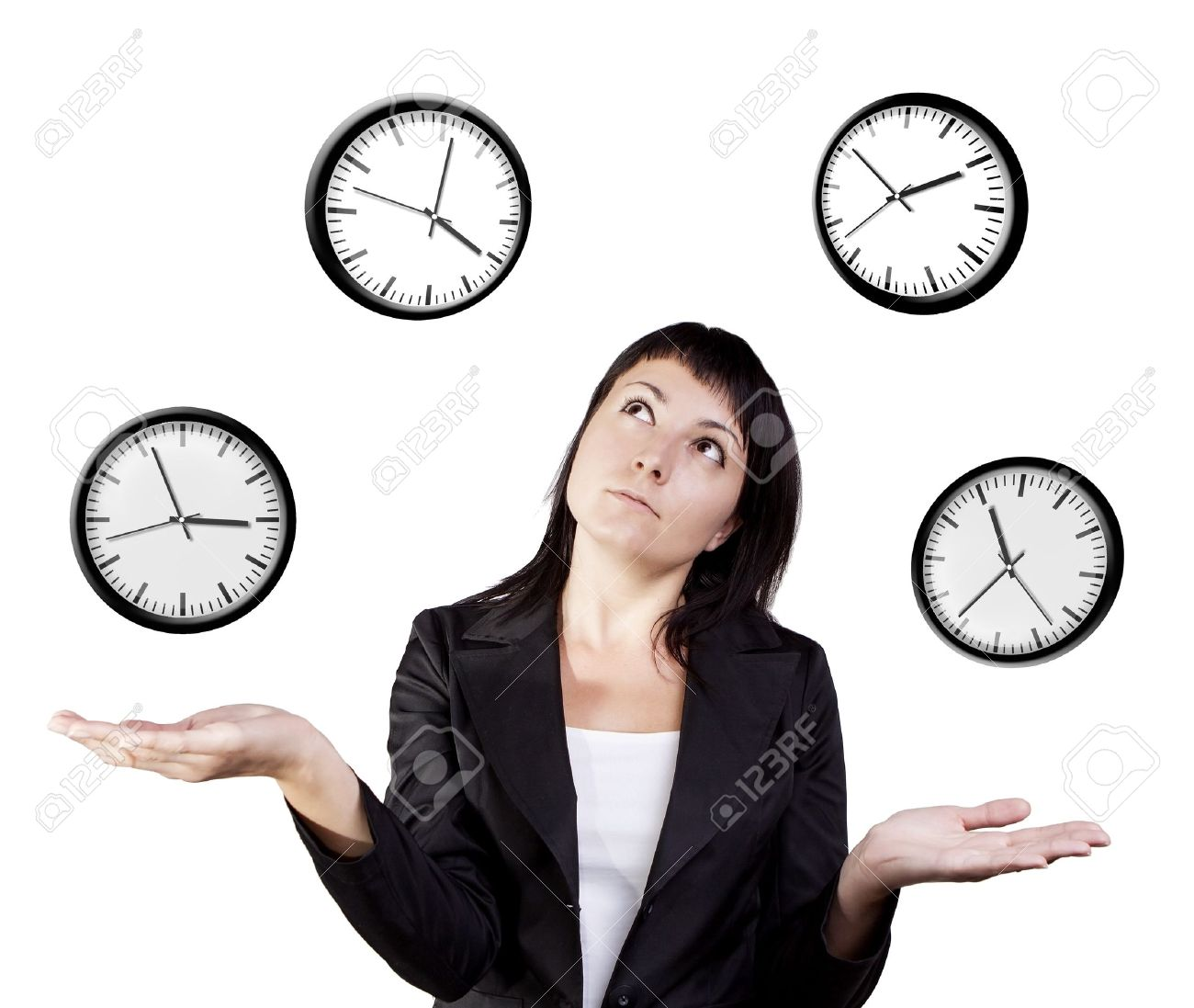 A young woman juggling the management of time  Isolated on a white background Stock Photo - 15217432