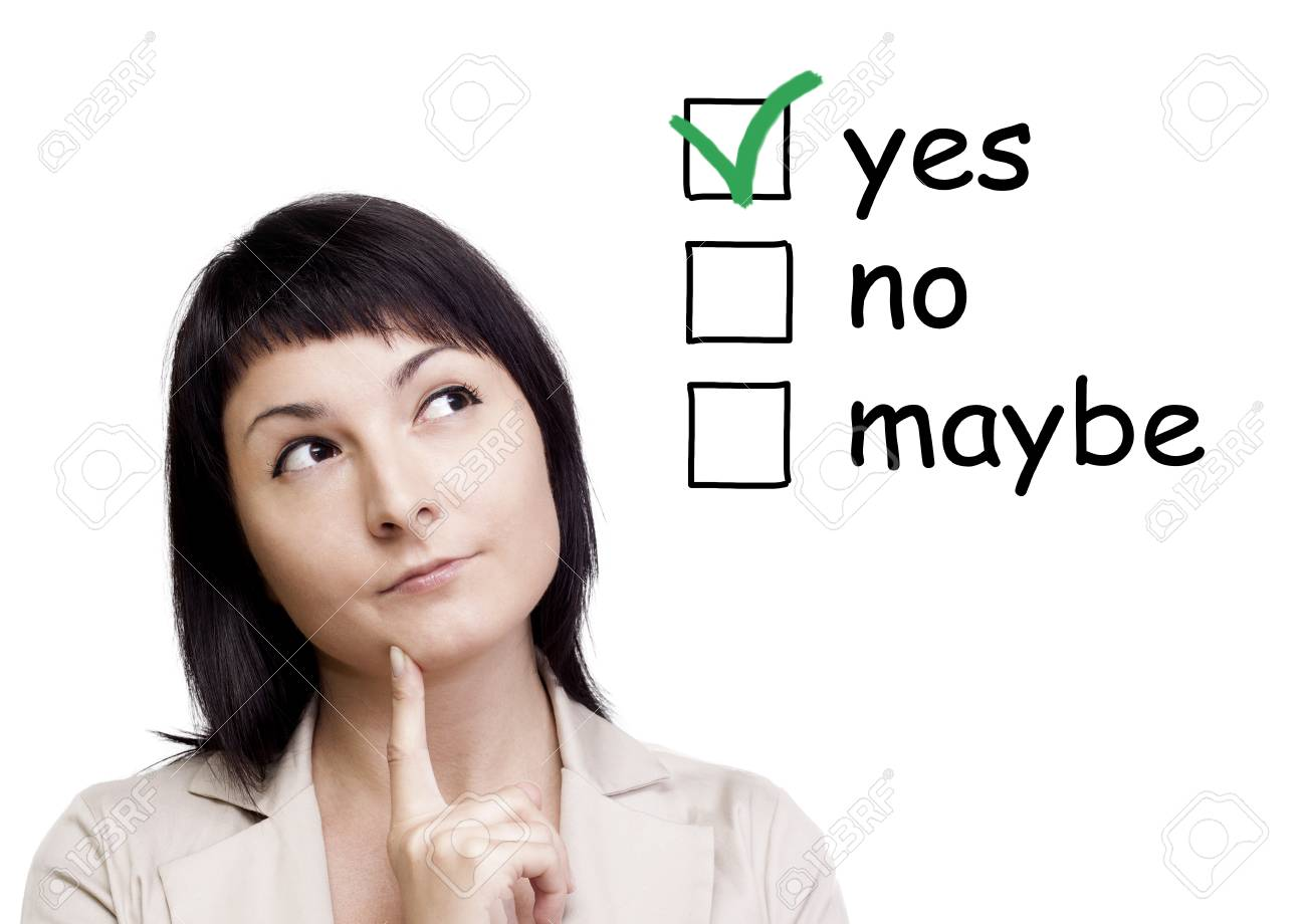 A portrait of a young woman trying to make a decision over white background Stock Photo - 15605115