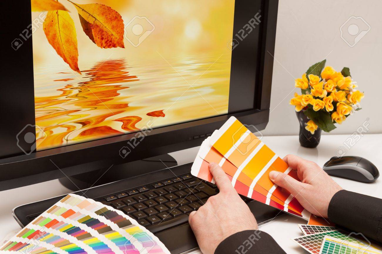 Graphic designer at work  Color samples  Brown, yellow images Stock Photo - 17992038