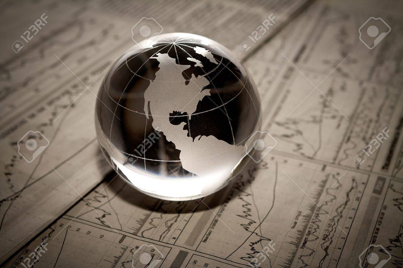Globe on financial report Stock Photo - 18011768