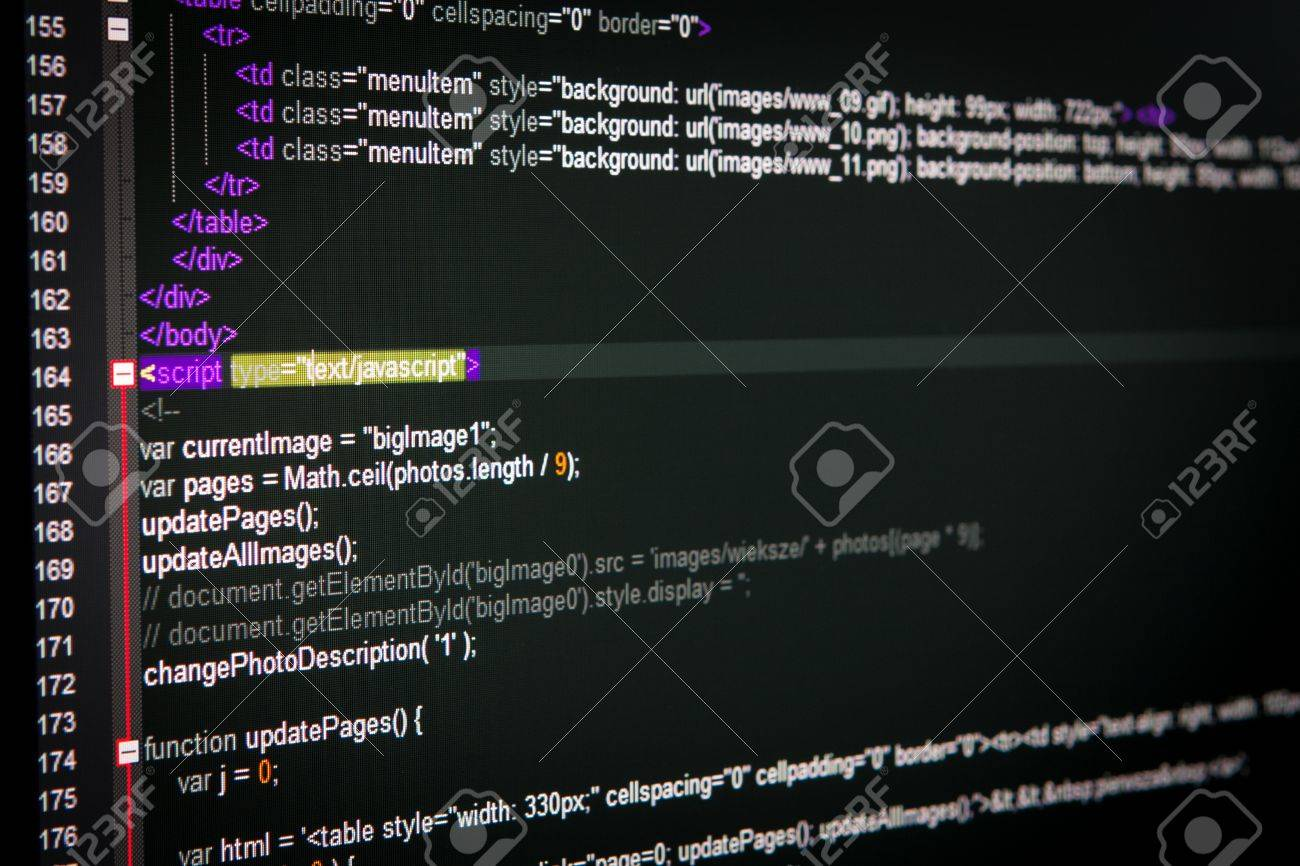 Program code on a monitor Stock Photo - 18423324