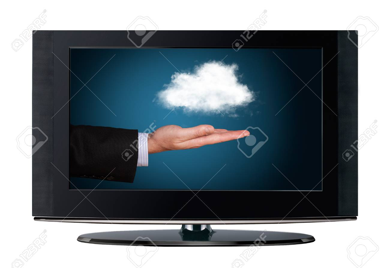 Television cloud computing isolated on white background Stock Photo - 18732820