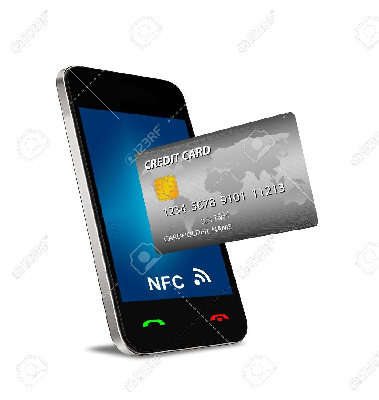 A smartphone with Near Field Communication (NFC) showing a plastic credit card going into the fron of the screen Stock Photo - 19875288