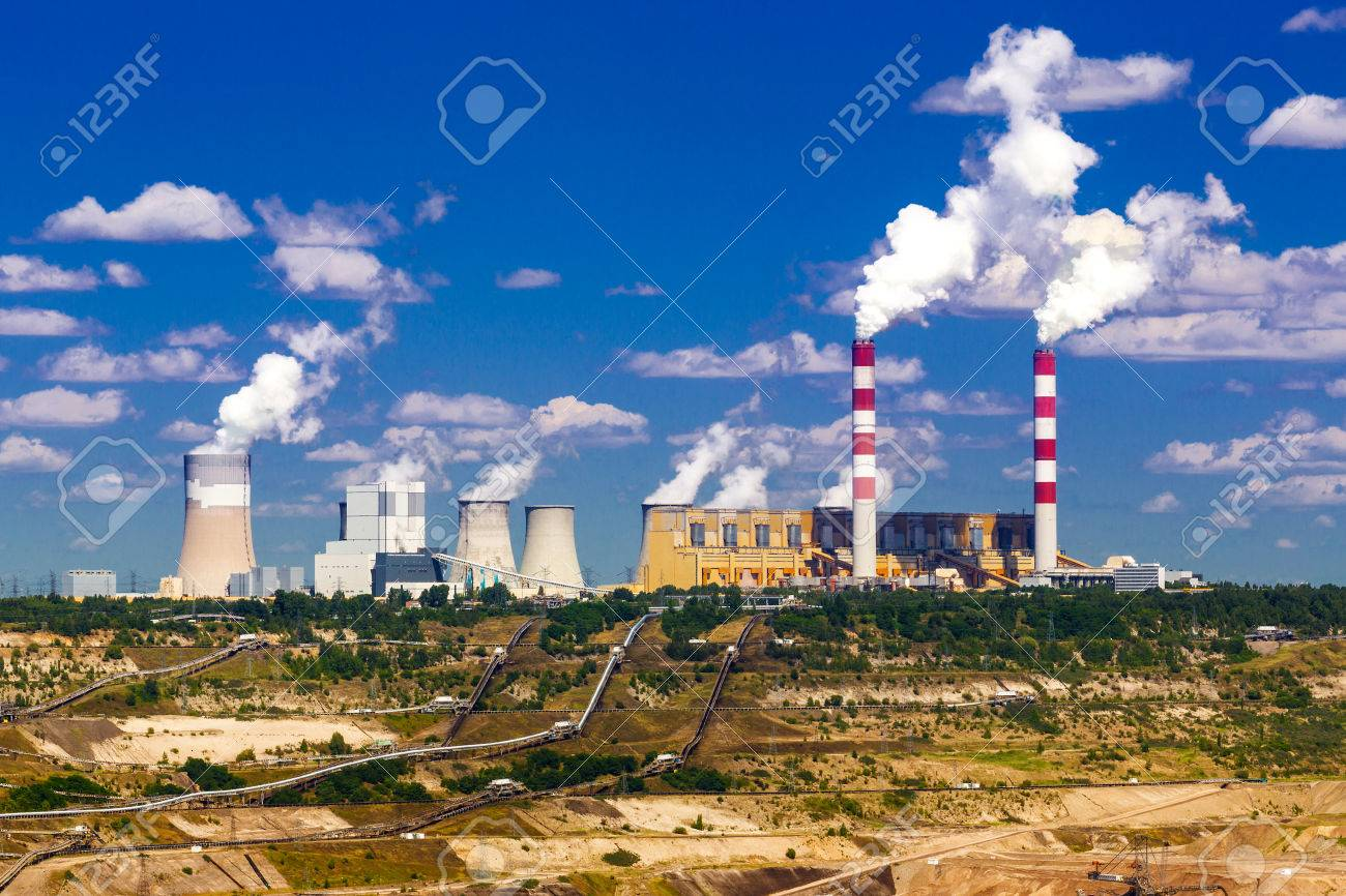 Surface coal mining and power station in Belchatow, Poland Stock Photo - 23215465