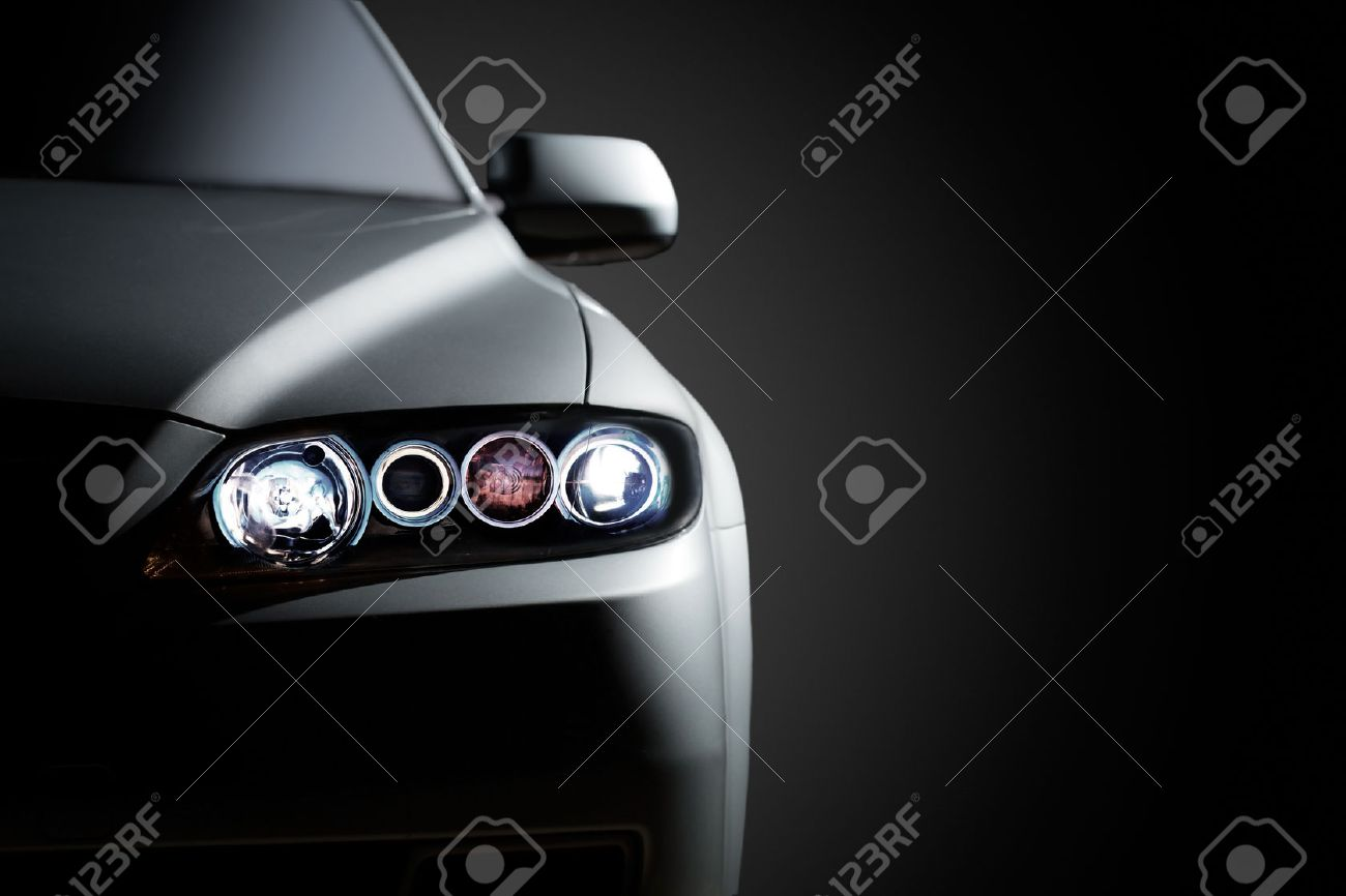 Gray Modern Car Closeup On Black Background Stock Photo Picture And