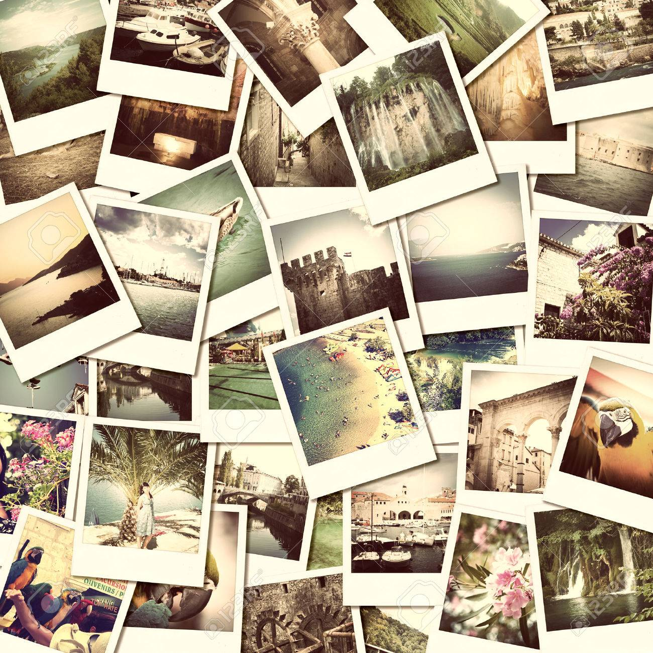 mosaic with pictures of different places and landscapes, snapshots uploaded to social networking services Stock Photo - 28321485