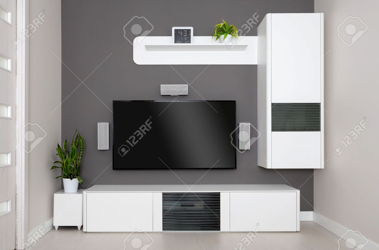 Lovely Modern Living Room   TV And Speakers Home Theater. Stock Photo   42356368
