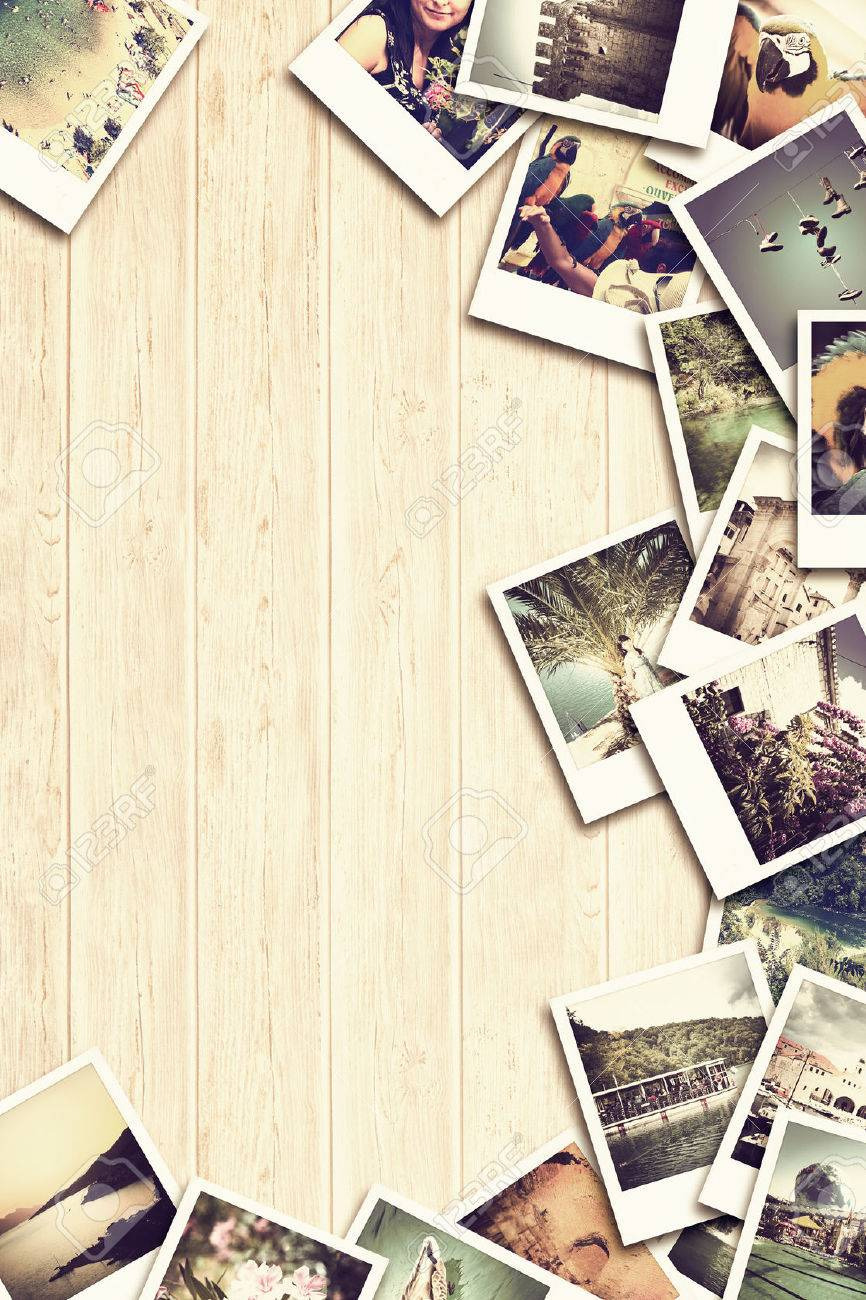 Frame with old paper and photos. Objects over wooden planks. Stock Photo - 42356416