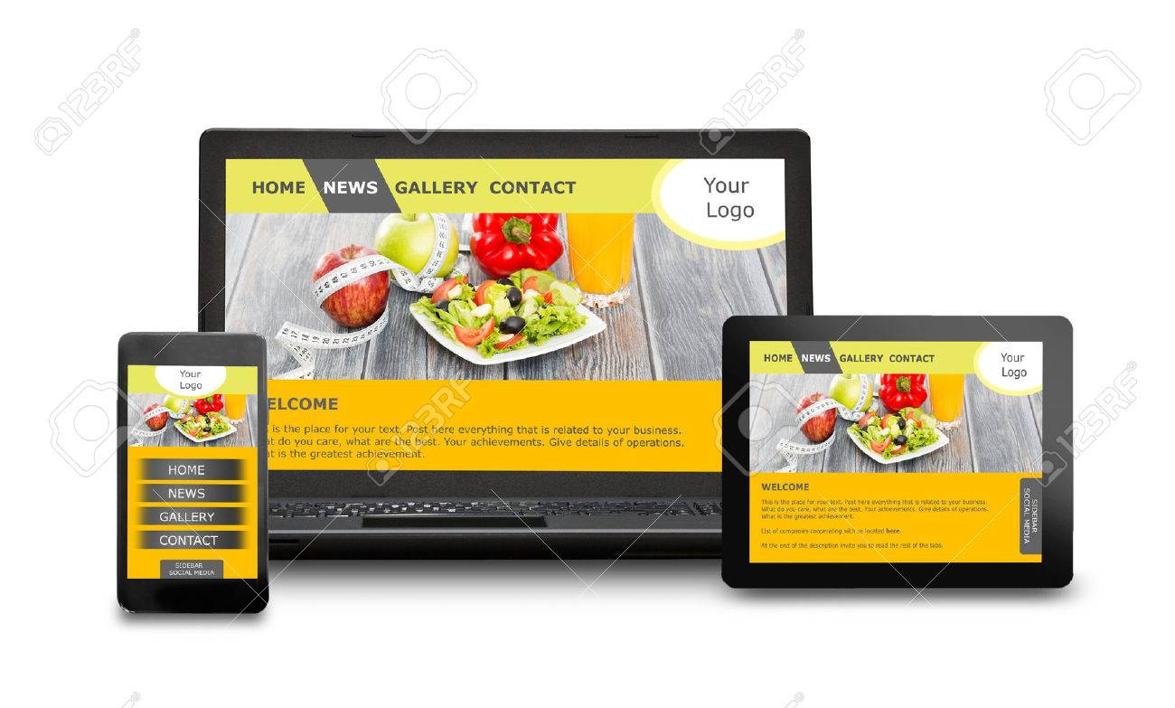 Responsive web design on mobile devices phone, laptop and tablet pc Stock Photo - 42356418