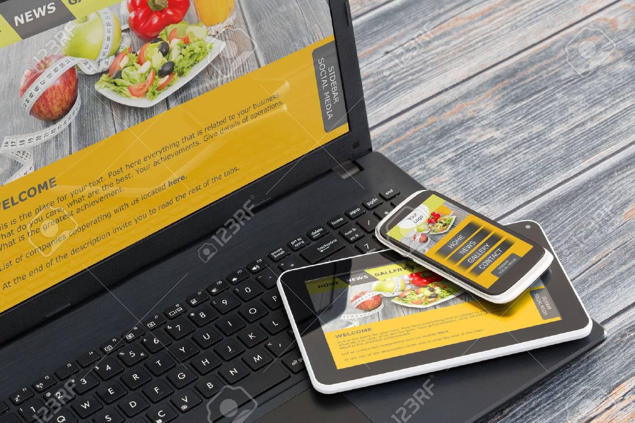 Site web adaptatif sur appareils mobiles téléphone, ordinateur portable et Tablet PC Banque d'images - 43398514