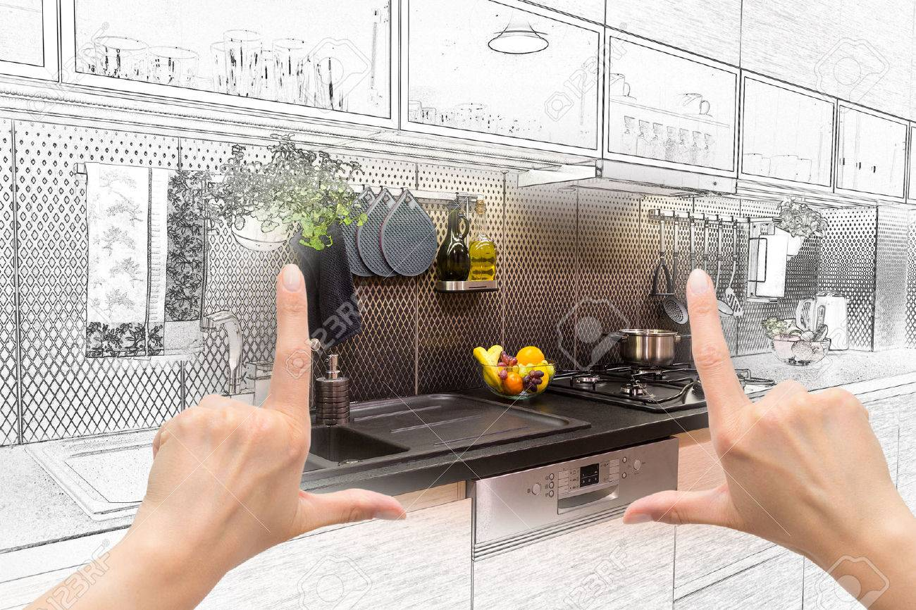 Female hands framing custom kitchen design. Combination drawing and photo. Banque d'images - 43398528