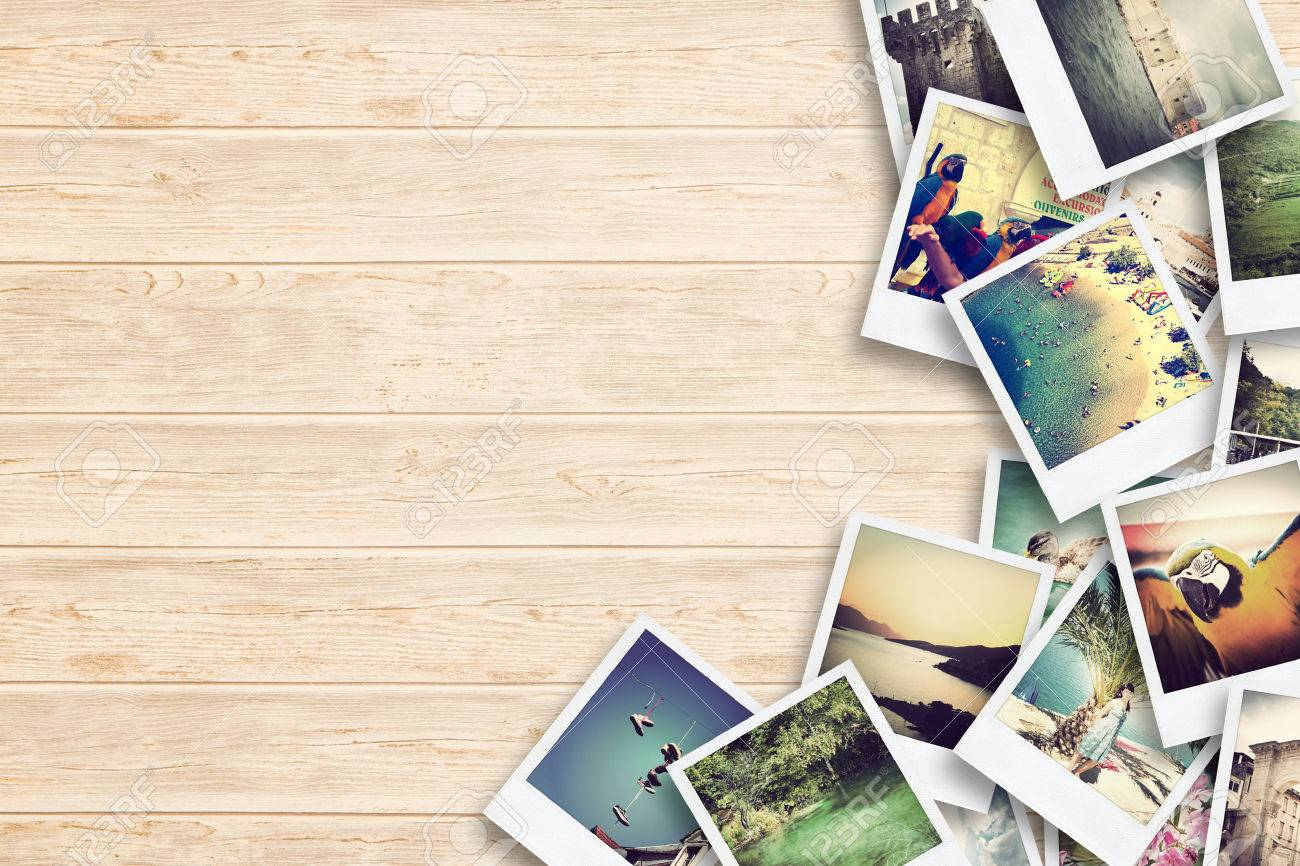 Frame with old paper and photos. Objects over wooden planks. Stock Photo - 43398536