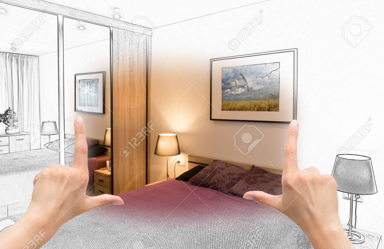 Weibliche Hände Framing Benutzerdefinierten Schlafzimmer Design