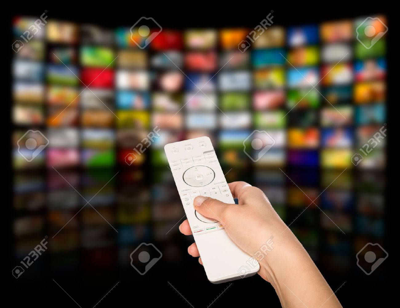 LCD TV panels. Television production technology concept. Remote control. Stock Photo - 43398572