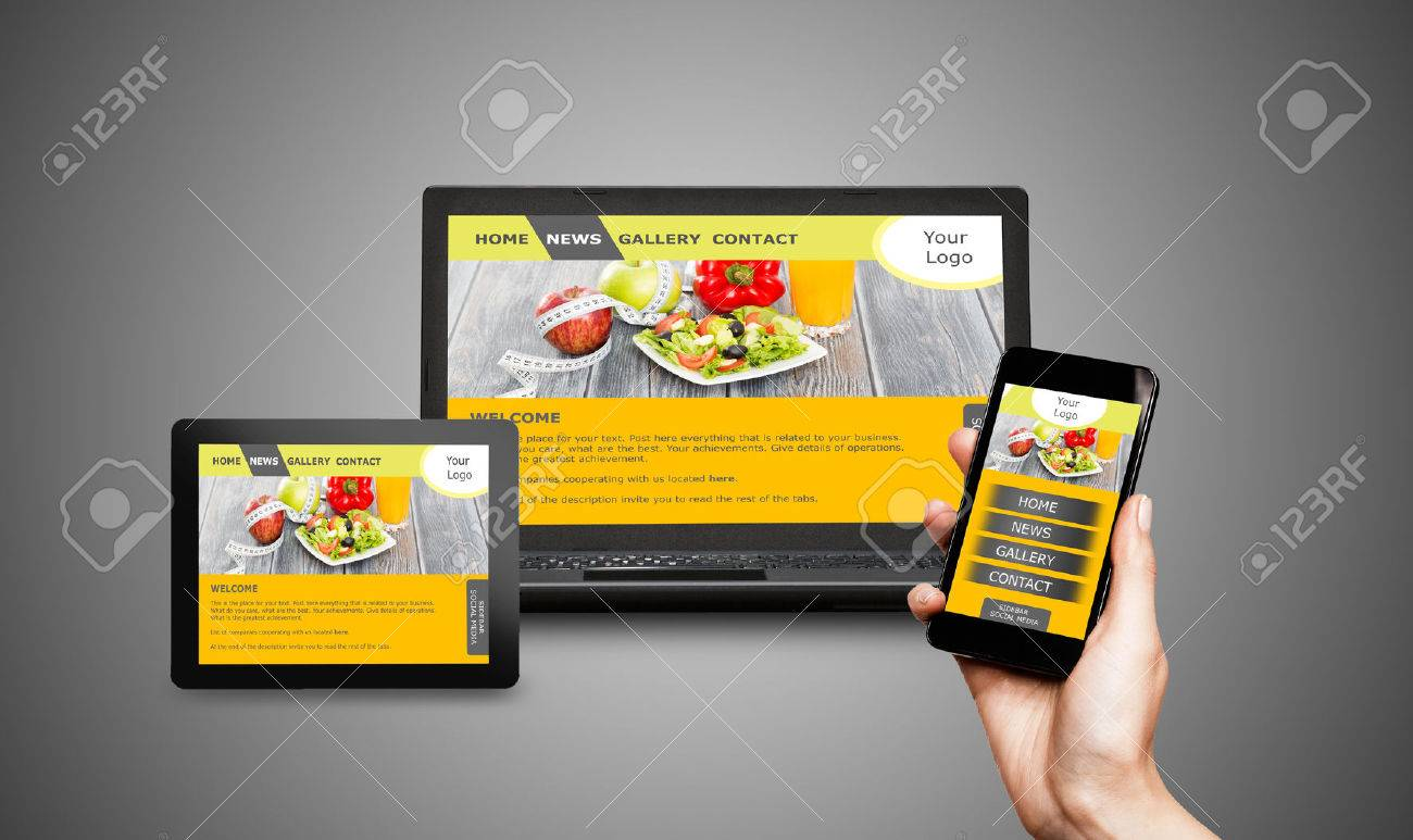 Responsive web design on mobile devices phone, laptop and tablet pc Banque d'images - 44883349