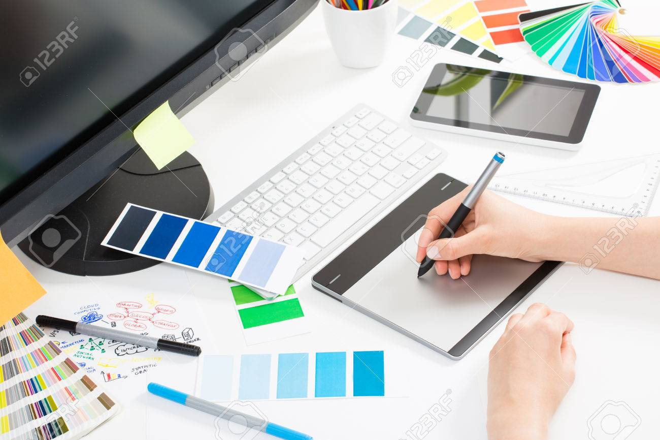 Graphic designer at work. Color swatch samples. Stock Photo - 44883948