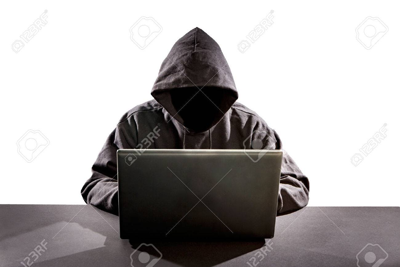 Hacker utilisant un ordinateur portable. Piratage Internet. Banque d'images - 50912711