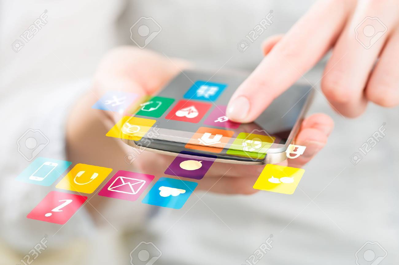 Social media network concept on phone. - 54420128