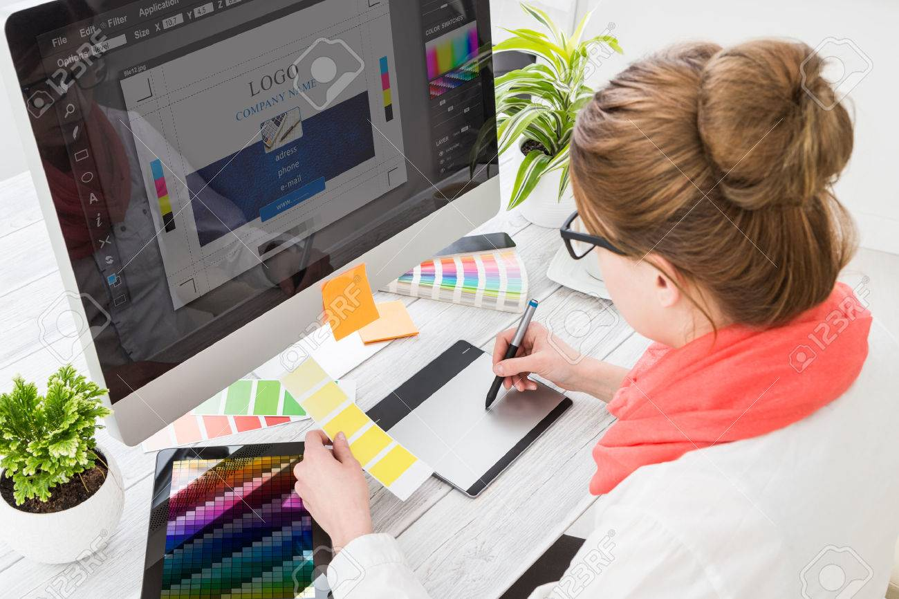 Graphic designer at work. Color swatch samples. Stock Photo - 54420176