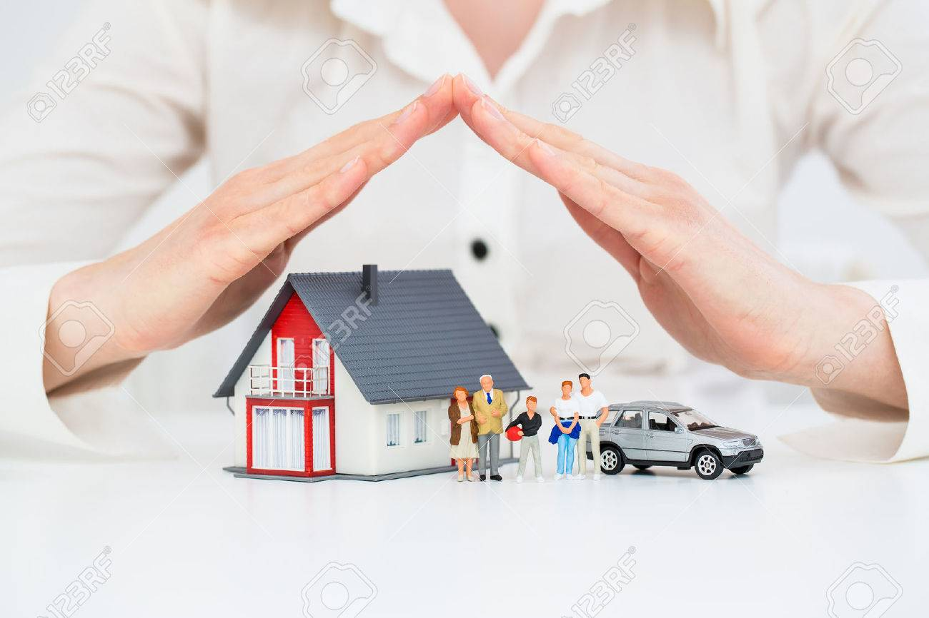 Insurance Home House Live Car Protection Protect Concepts Banque d'images - 55613532