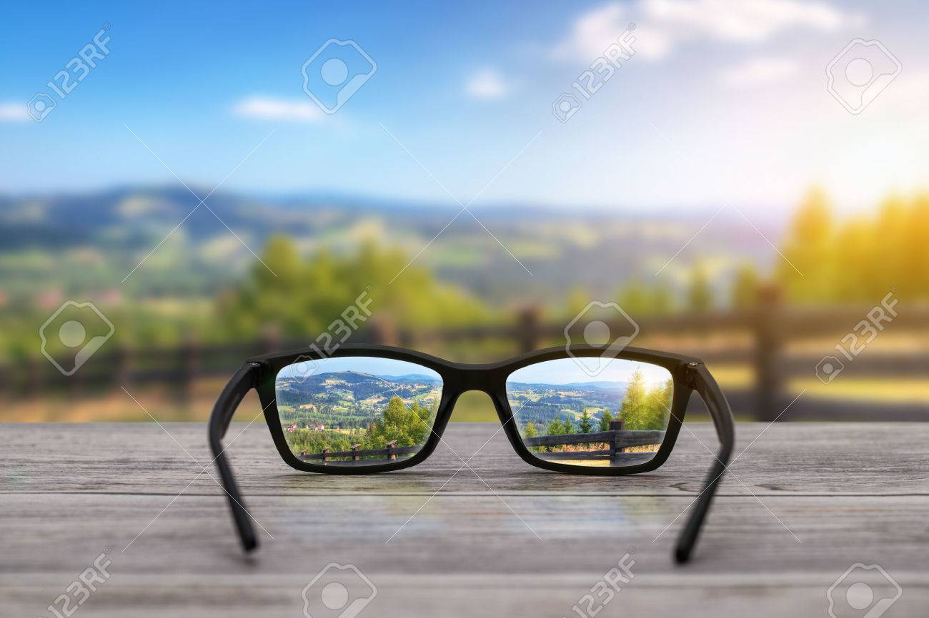 glasses focus background wooden - stock image Stock Photo - 56962894