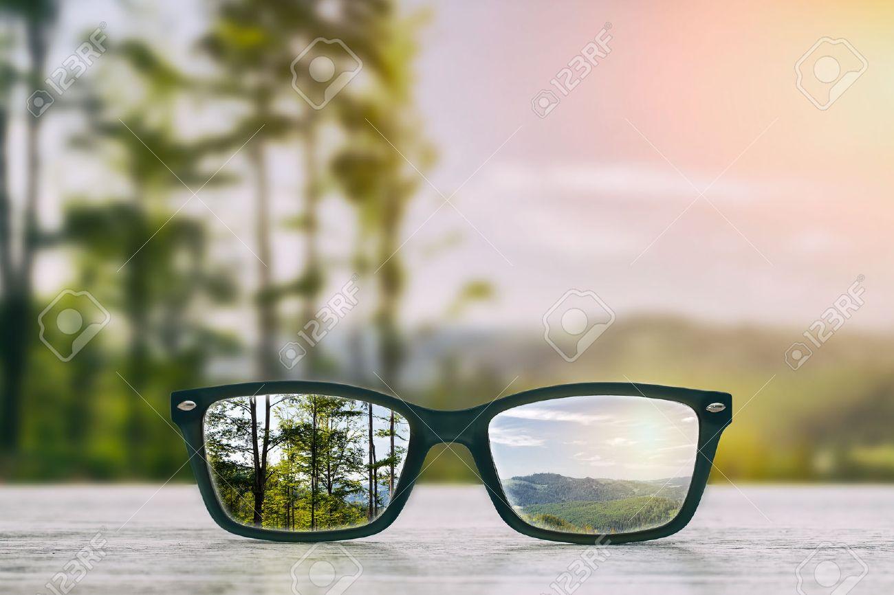 glasses focus background wooden - stock image Banque d'images - 56962916