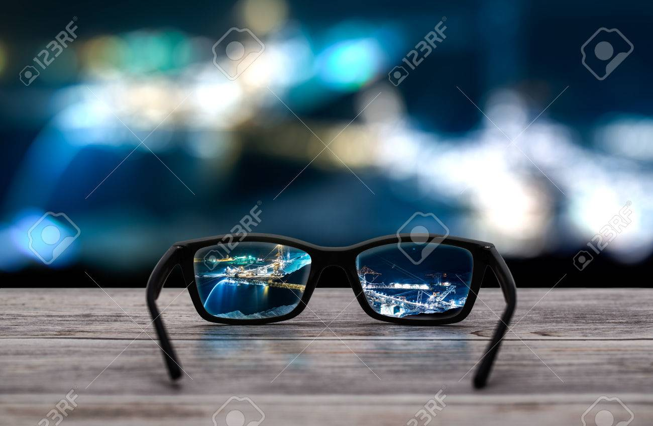 glasses focus background wooden - stock image Stock Photo - 57828070