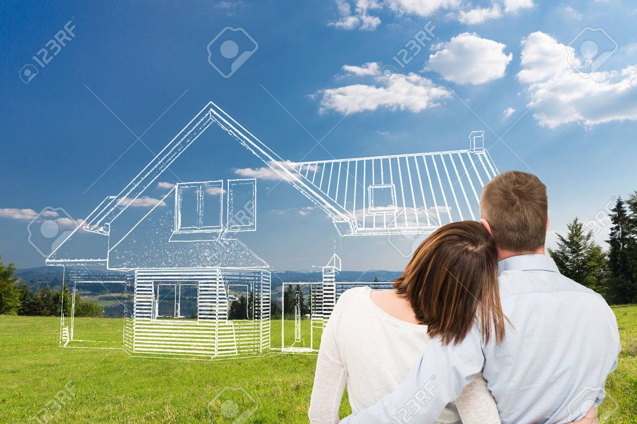 Loving young couple looking at dream house. Stock Photo - 65483791