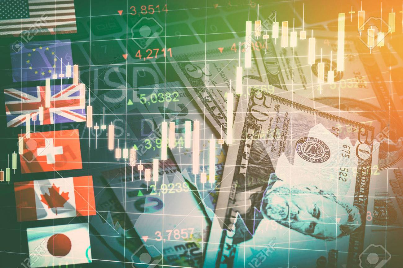Forex Markets Currency Trading Global Economy Concept. United Kingdon Pund, European Euro, American and Canadian Dollar, Japanese Yen Currency - 64977807