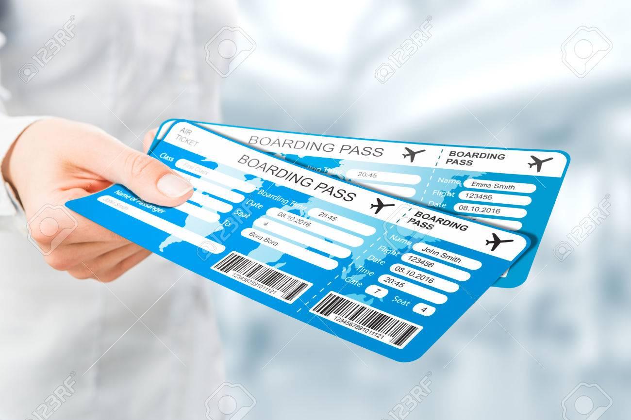 travel ticket air business pass hand destination fly document gate code departure tour abroad tourist airplane passenger focus concept - stock image - 64977921