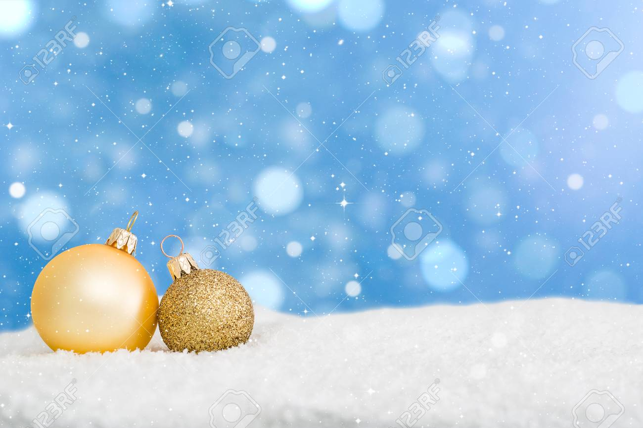 White Christmas Snow Background.Snow Background Closeup Decoration White Christmas Golden Gold