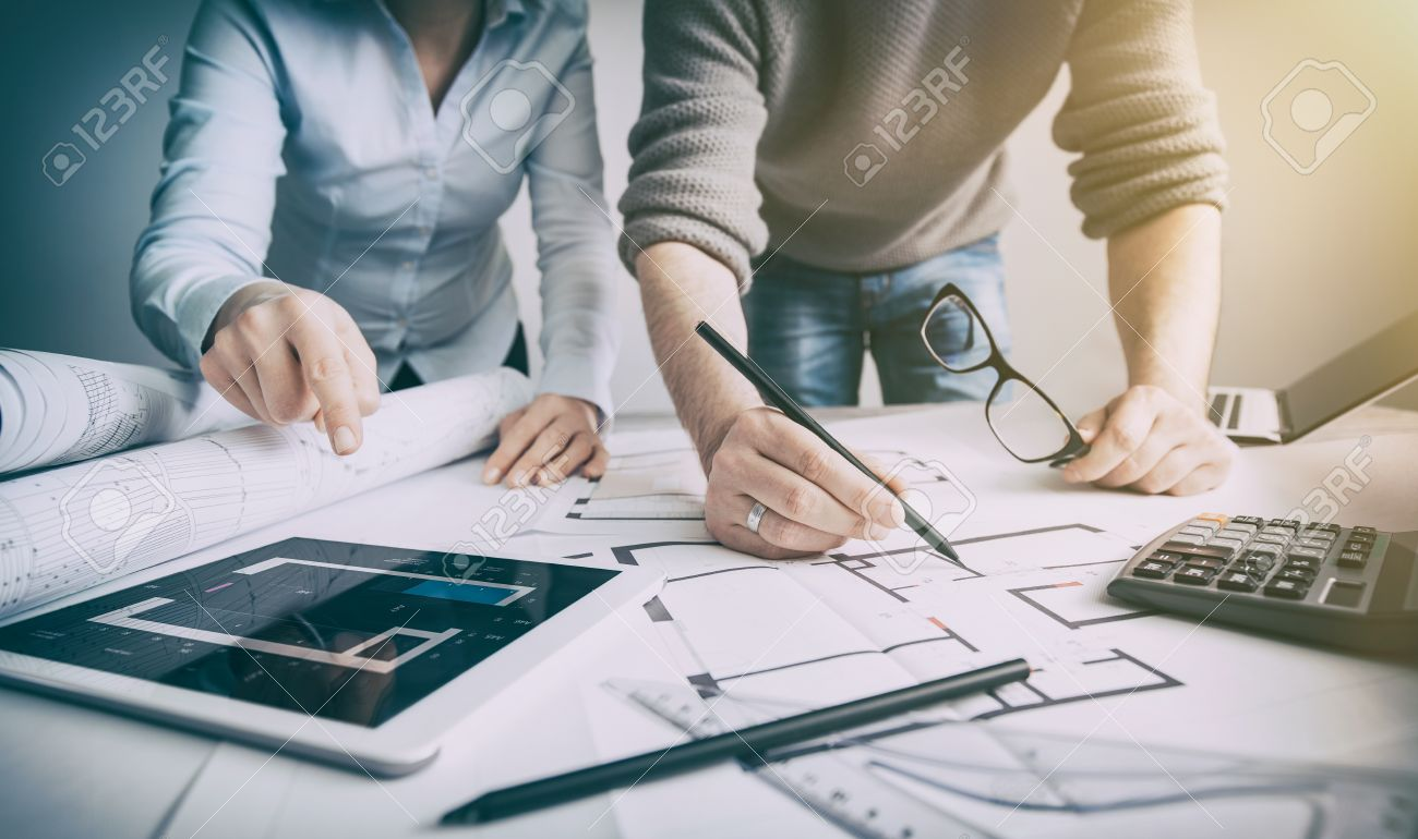 interior design designer planning architecture drawing architect business plan construction sketch concept house illustration creative concept - stock image Stock Photo - 73188599