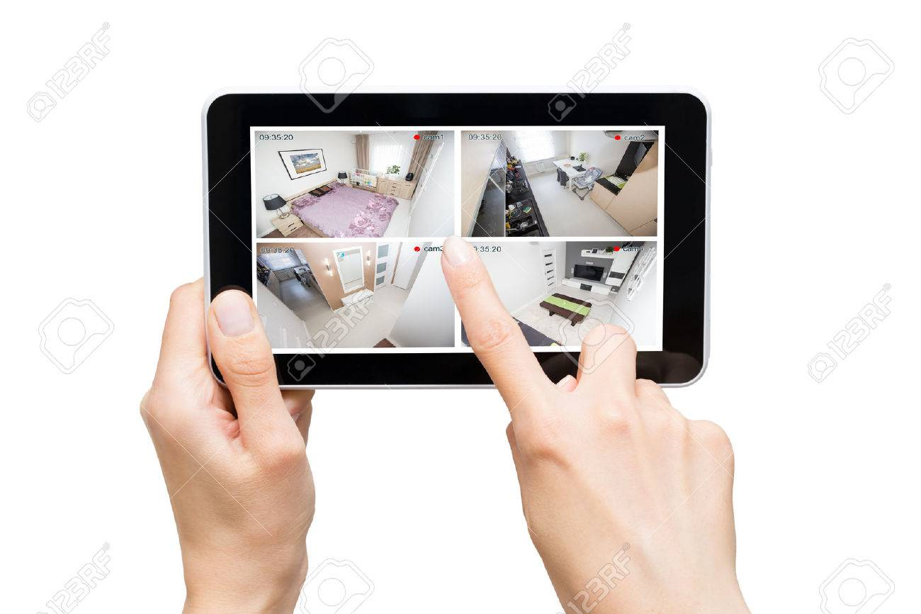 home camera cctv monitoring monitor smart house video system hand exterior closeup concept - stock image Stock Photo - 71933544