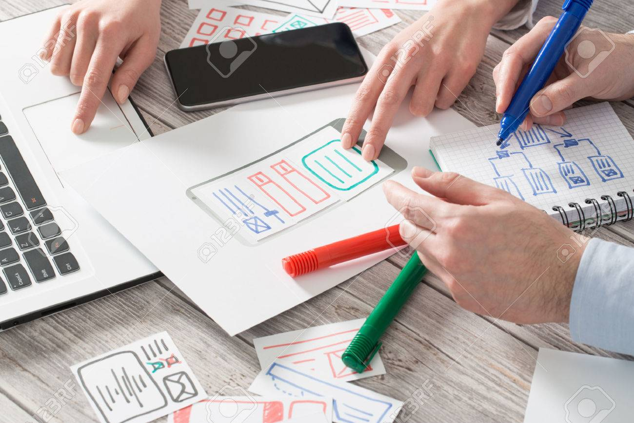 ux designer designing designers web brand phone smartphone layout geek business prototype internet goals sketch plan write idea success solution concept - stock image Banque d'images - 73188613